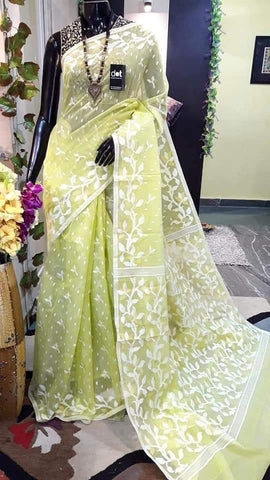 Yellow Green Design Dhakai Jamdani Sarees