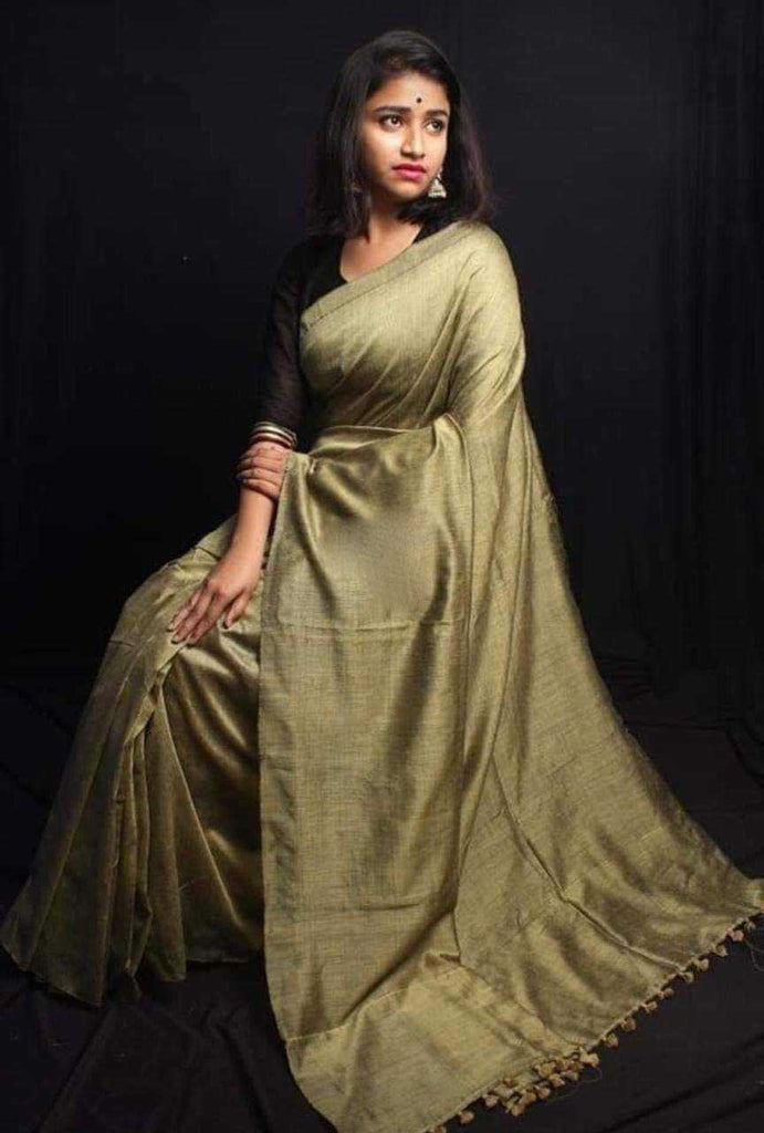 Beige Bengal Handloom Khadi Sarees (Add to Cart Get 15% Extra Discount)