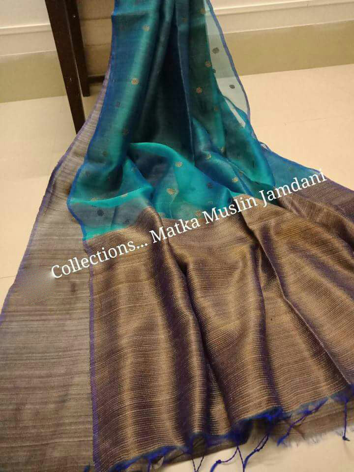 Blue Brown Matka Muslin Jamdani Sarees (Add to Cart Get 15% Extra Discount)