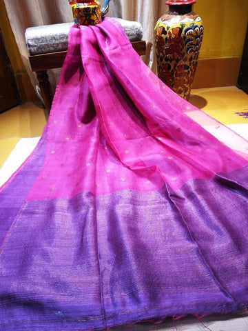 Purple Blue Matka Muslin Jamdani Sarees (Add to Cart Get 15% Extra Discount)