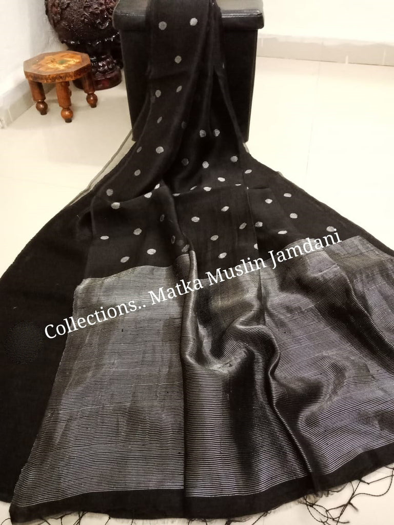 Black Matka Muslin Jamdani Sarees (Add to Cart Get 15% Extra Discount)