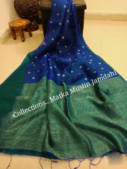 Blue Green Matka Muslin Jamdani Sarees (Add to Cart Get 15% Extra Discount)