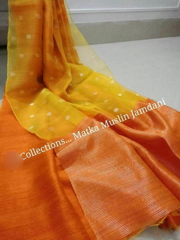 Yellow Orange Matka Maslin Jamdani Sarees