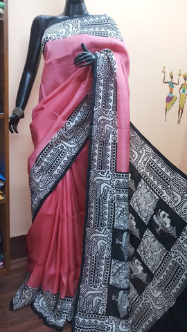Pink Pure Murshidabad Silk Sarees (Add to Cart Get 15% Extra Discount)