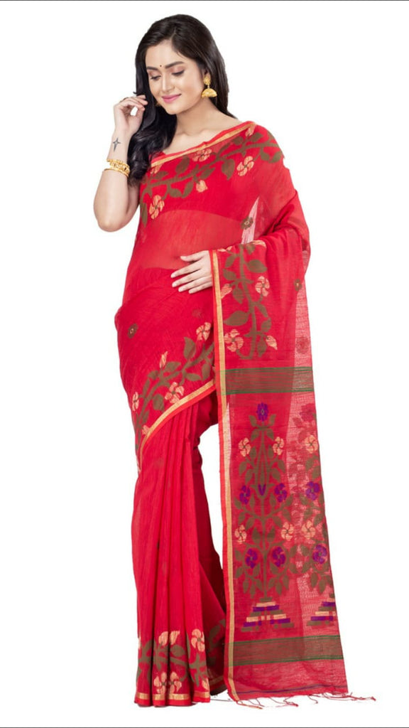 Red Handloom Cotton Silk Sarees