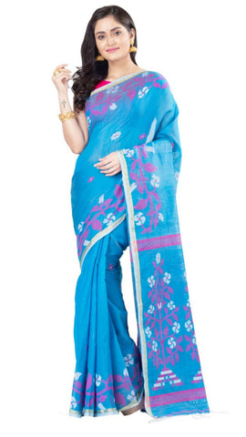 Blue Handloom Cotton Silk Sarees