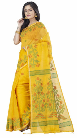 Yellow Handloom Cotton Silk Sarees