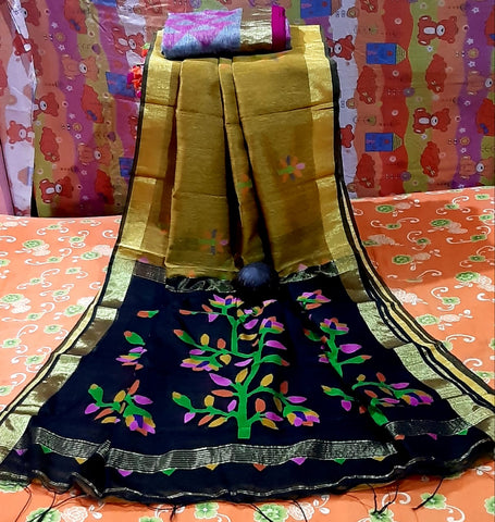 Green Red Dhakai Jamdani Sarees