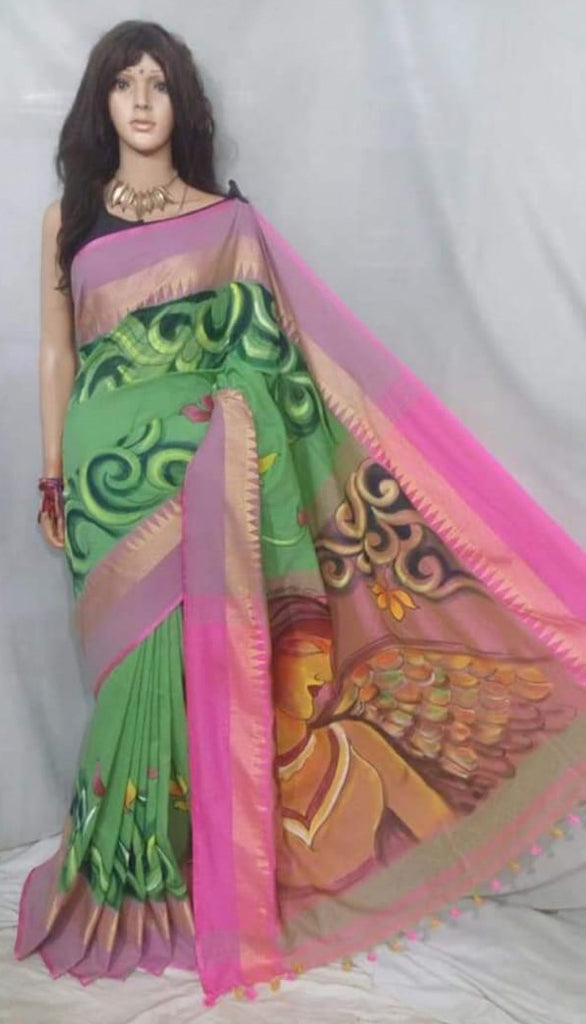 Green Pink Handpaint Temple Border Cotton Khadi Sarees