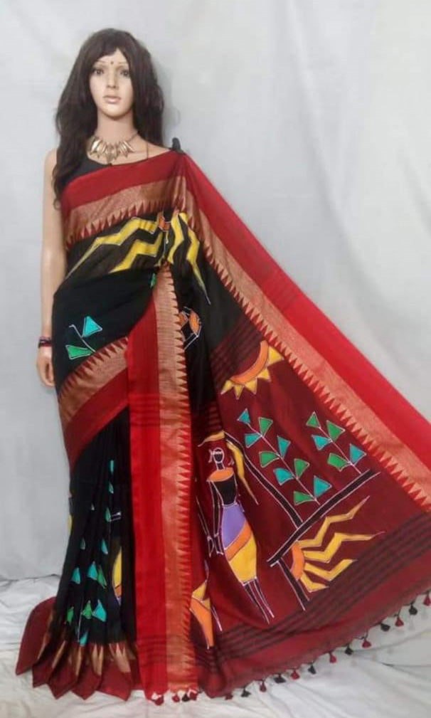 Black Red Handpaint Temple Border Cotton Khadi Sarees