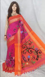 Purple Orange Handpaint Temple Border Cotton Khadi Sarees