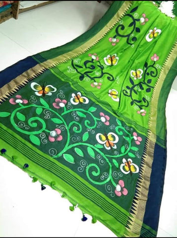 Green Handpaint Temple Border Cotton Khadi Sarees