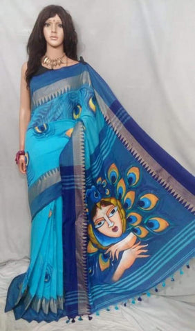 Blue Handpaint Temple Border Cotton Khadi Sarees