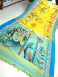 Yellow Blue Handpaint Temple Border Cotton Khadi Sarees