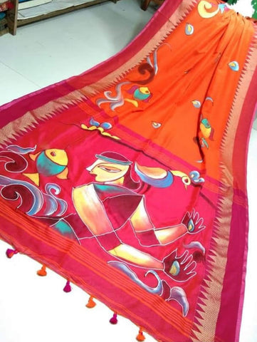 Orange Purple Handpaint Temple Border Cotton Khadi Sarees
