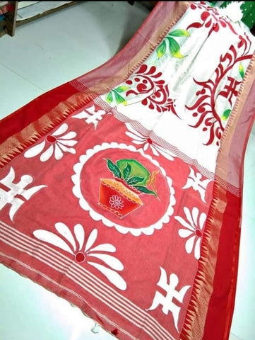 White Red Handpaint Temple Border Cotton Khadi Sarees