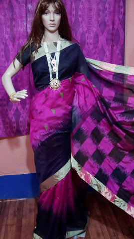 Purple Blue Ikkat Check Cotton Silk Sarees