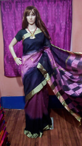 Violet Blue Ikkat Check Cotton Silk Sarees