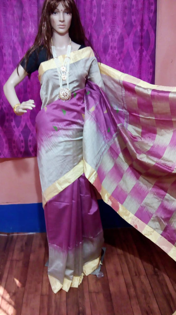 White Violet Ikkat Check Cotton Silk Sarees