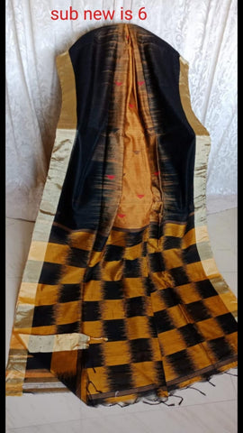 Yellow Black Ikkat Check Cotton Silk Sarees