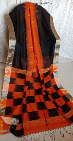 Orange Black Ikkat Check Cotton Silk Sarees