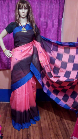 Blue Pink Ikkat Check Cotton Silk Sarees