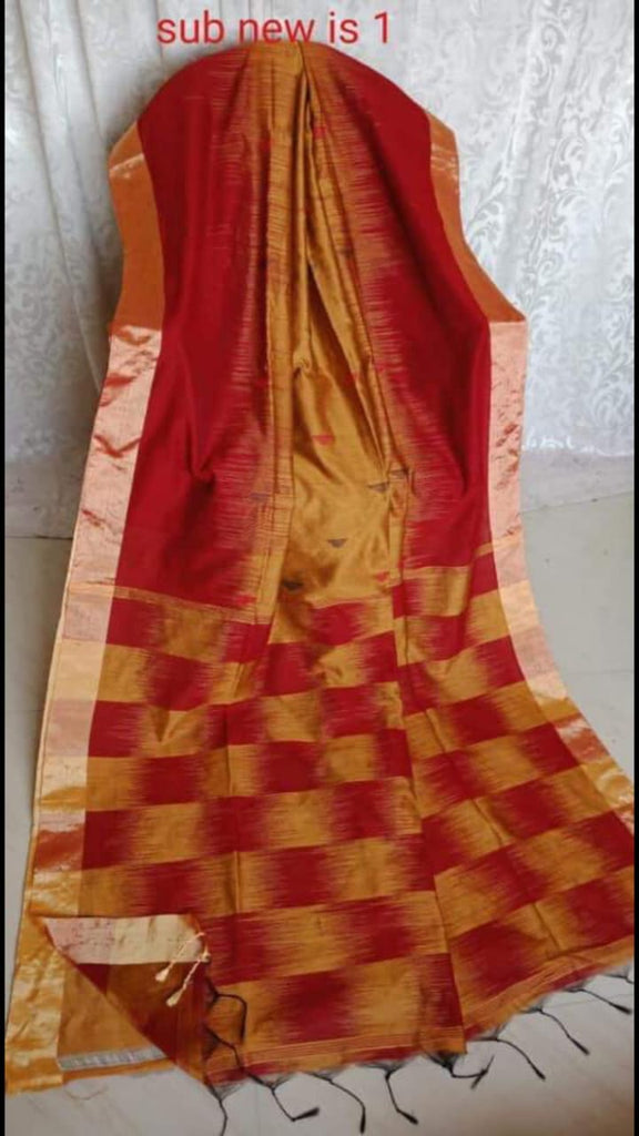 Red Yellow  Ikkat Check Cotton Silk Sarees