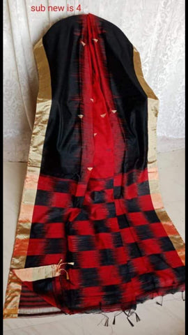 Red Black Ikkat Check Cotton Silk Sarees