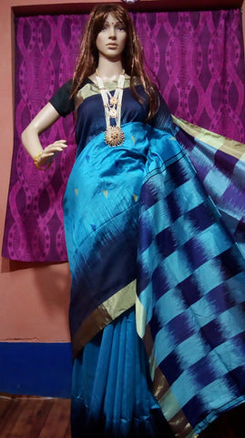 Blue Ikkat Check Cotton Silk Sarees