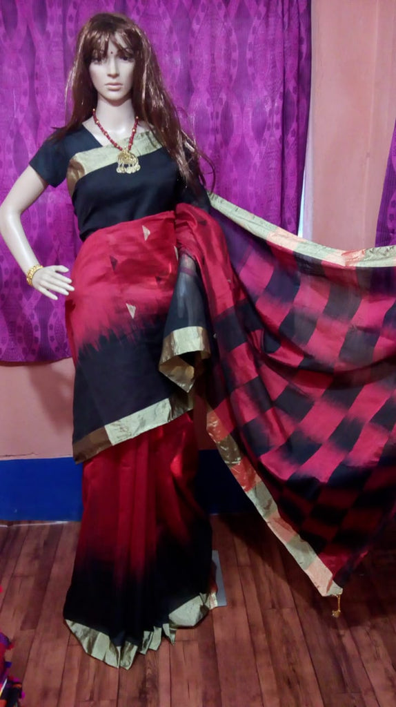 Red Blue Ikkat Check Cotton Silk Sarees