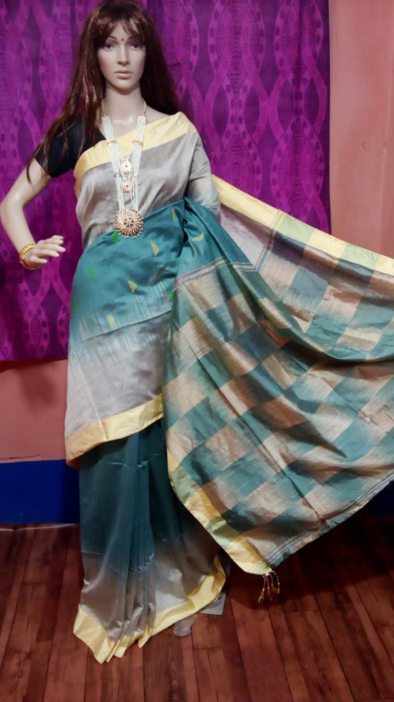 Beige Blue Ikkat Check Cotton Silk Sarees
