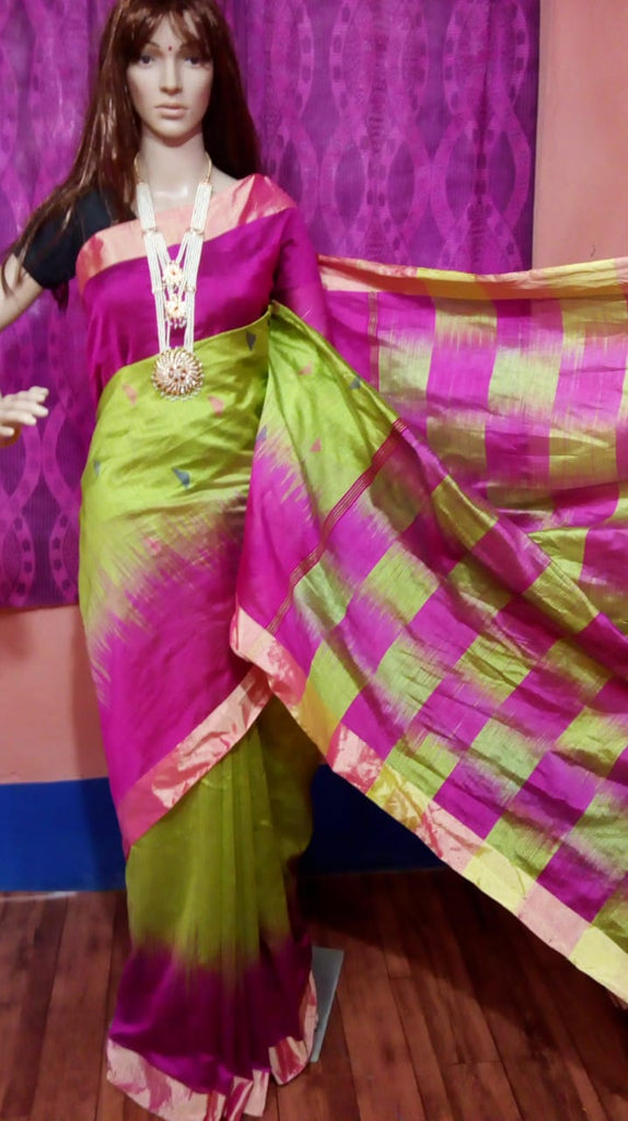 Purple Green Ikkat Check Cotton Silk Sarees