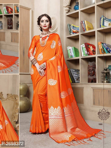 Orange Designer Cotton Pure Silk Party Wear Sarees