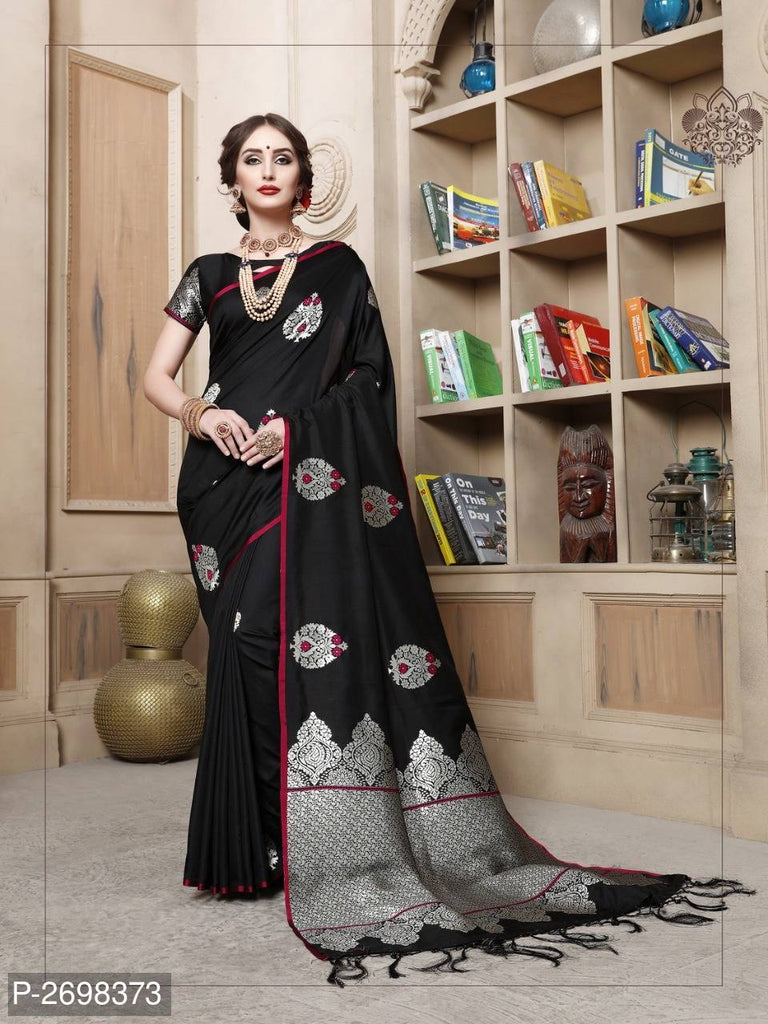 Black Designer Cotton Pure Silk Party Wear Sarees