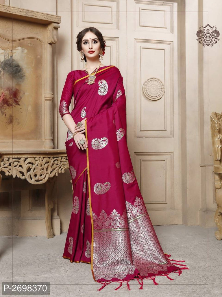 Maroon Designer Cotton Pure Silk Party Wear Sarees
