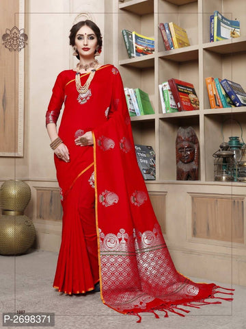 Red Designer Cotton Pure Silk Party Wear Sarees