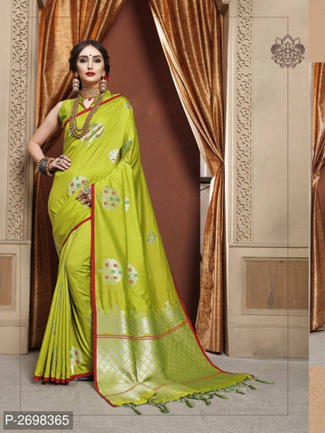 Yellow Designer Cotton Pure Silk Party Wear Sarees