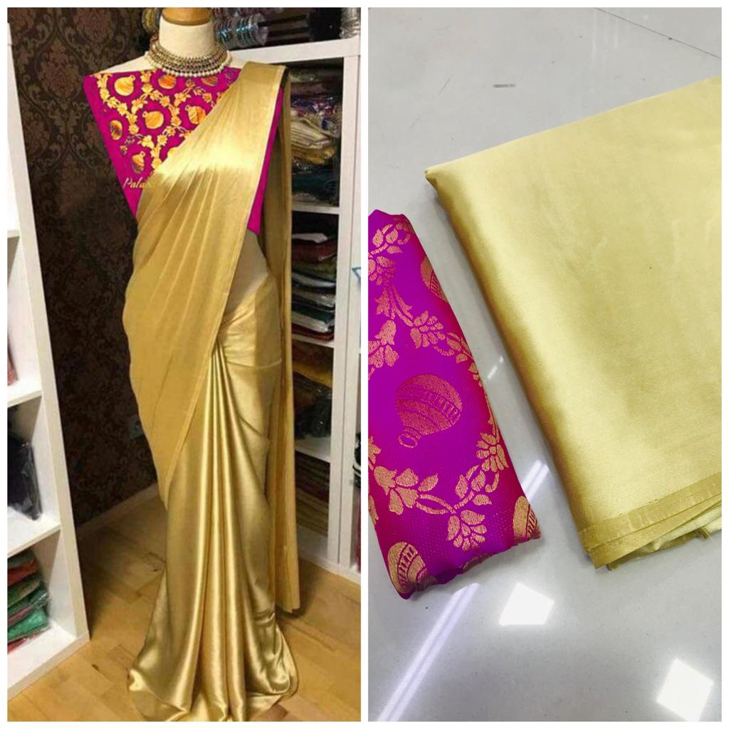 New Arrival Purple Golden Designer Party Wear Sarees