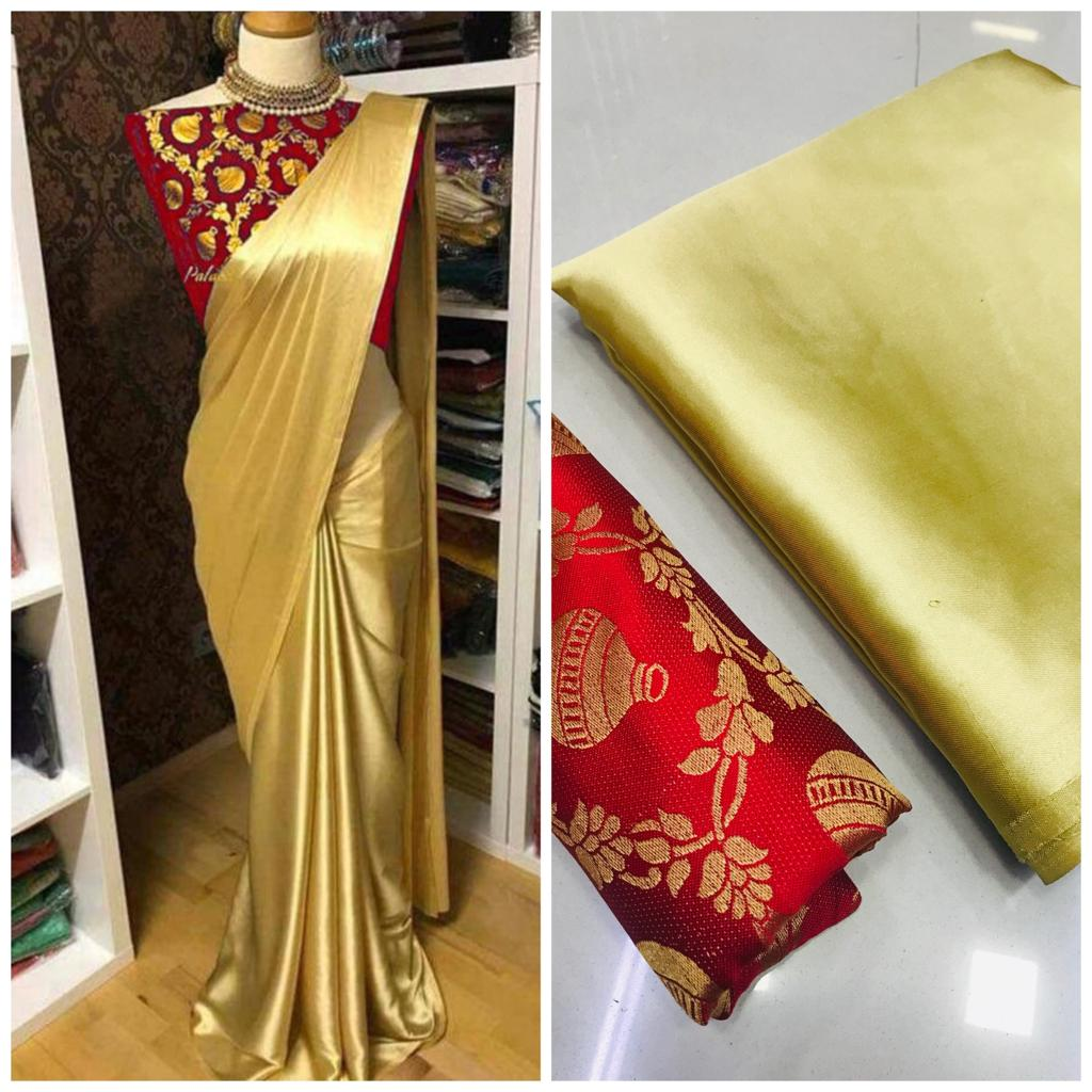 New Arrival Red Golden Designer Party Wear Sarees