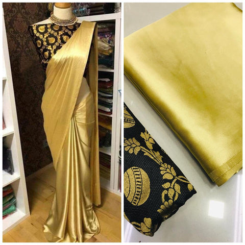 New Arrival Black Golden Designer Party Wear Sarees