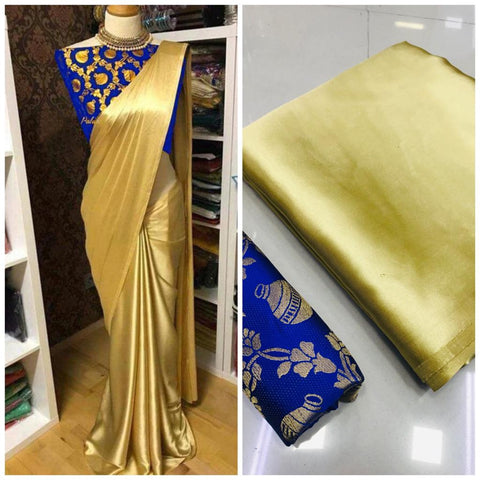 New Arrival Blue Golden Designer Party Wear Sarees