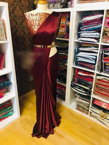 New Arrival Maroon Designer Party Wear Sarees
