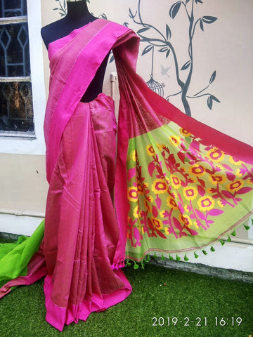 Violet Jamdani Matka Sarees (Add to Cart Get 15% Extra Discount)