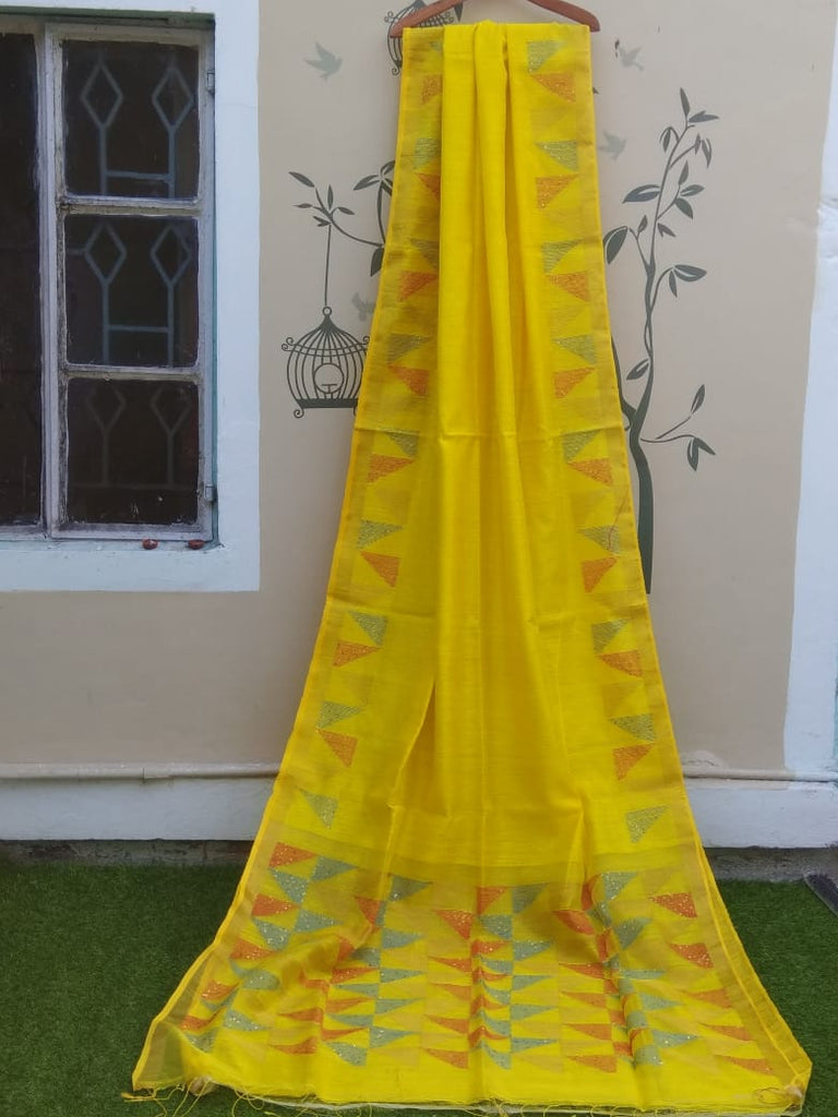 Yellow Jamdani Matka Sarees (Add to Cart Get 15% Extra Discount)
