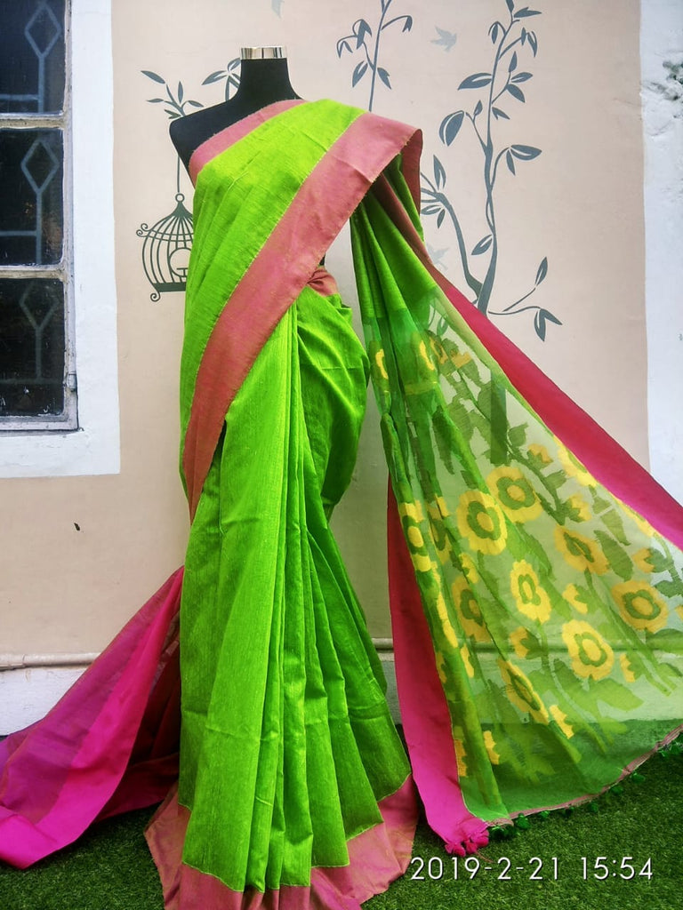 Green Jamdani Matka Sarees (Add to Cart Get 15% Extra Discount)