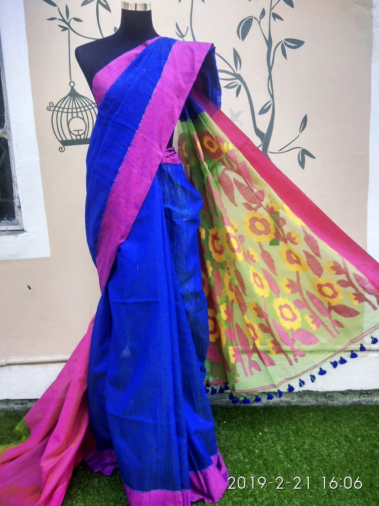 Blue Jamdani Matka Sarees (Add to Cart Get 15% Extra Discount)