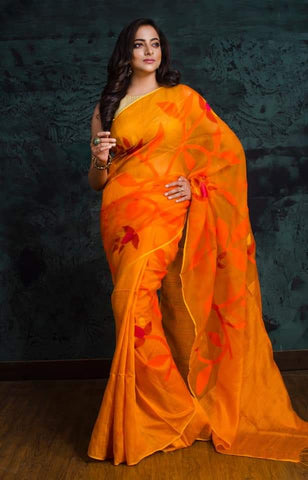 New Arrival Orange Matka Maslin Jamdani Sarees