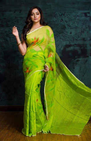 Green Matka Muslin Jamdani Sarees (Add to Cart Get 15% Extra Discount)
