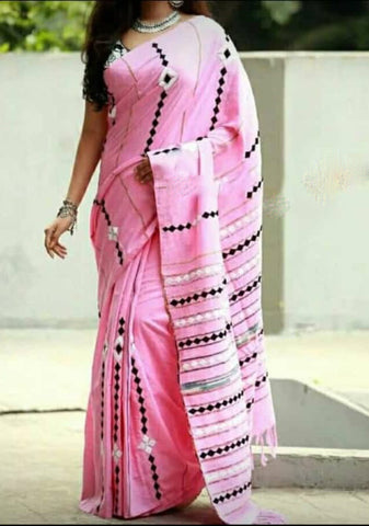 Pink Khesh Applique Work Pure Khadi Sarees New Arrival