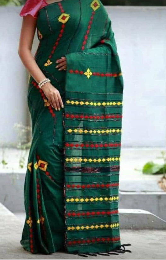 Green Khesh Applique Work Pure Khadi Sarees New Arrival